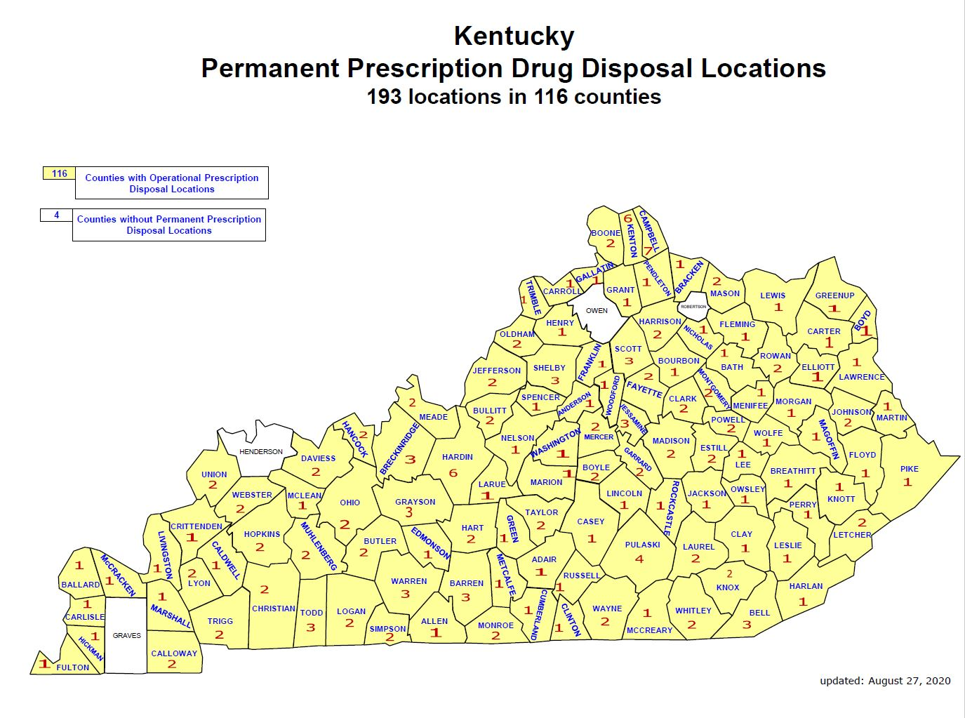 Kentucky Permanent Prescription Drug Disposal Locations - 193 locations in 116 counties. Map of Kentucky.